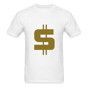 Men's T-Shirt - Stylised Dollar sign on a Black t-shirt.