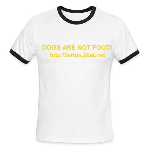 DOGS ARE NOT FOOD!, Red/White - Men's Ringer T-Shirt