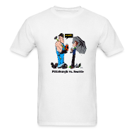 T-Shirts ~ Men's T-Shirt ~ Pittsburgh Vs Seattle T-Shirt, With Jagoff! comment.