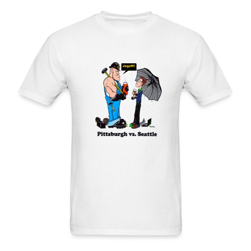 Pittsburgh Vs Seattle T-Shirt, With Jagoff! comment. - Men's T-Shirt