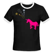 T-Shirts ~ Men's Ringer T-Shirt ~ Magical Unicorn (silver and gold metallic text)