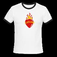 T-Shirts ~ Men's Ringer T-Shirt ~ Sacred Heart Crown of Thorns (Brown Ringer)