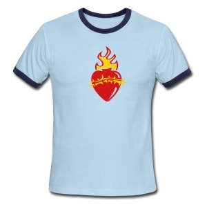 Sacred Heart Crown of Thorns (Brown Ringer) - Men's Ringer T-Shirt