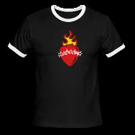 T-Shirts ~ Men's Ringer T-Shirt ~ Sacred Heart Crown of Thorns (Black Ringer)