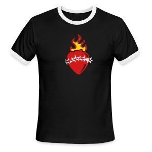 Sacred Heart Crown of Thorns (Black Ringer) - Men's Ringer T-Shirt