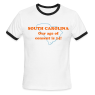 T-Shirts ~ Men's Ringer T-Shirt ~ SOUTH CAROLINA: Our age of consent is 14!