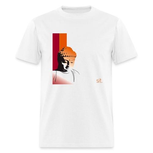 Buddha - Sit. Lightweight Cotton T-Shirt (White) - Men's T-Shirt