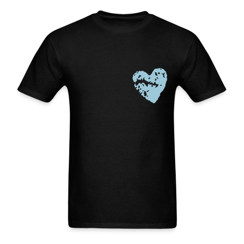 Blk T-Shirt W/ Blue Broken Heart - Men's T-Shirt