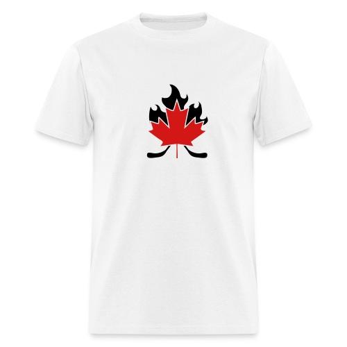 Maple Leaf Hockey Stick Cross w/ Back - Men's T-Shirt