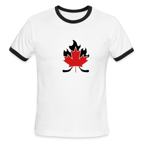 Maple Leaf Hockey Stick Cross - Men's Ringer T-Shirt