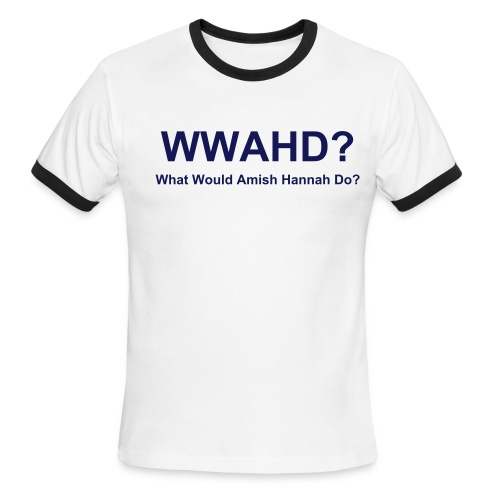 Mens Ringer WWAHD? T-Shirt - Light Blue with Dark Blue Text - Men's Ringer T-Shirt