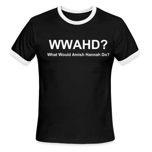 Mens Ringer WWAHD? T-Shirt - Black with White Text - Men's Ringer T-Shirt