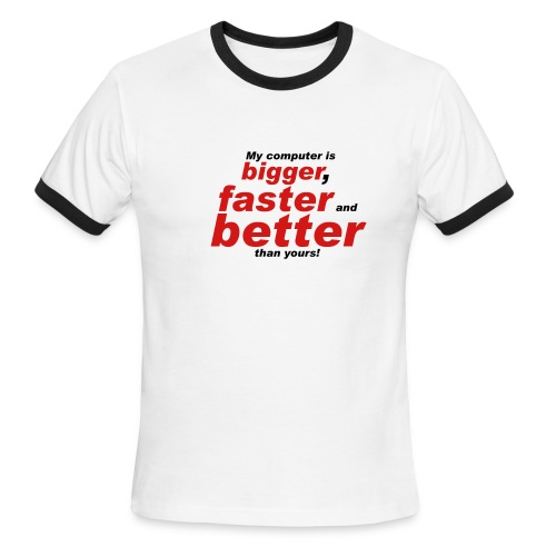 Wht/Red Big/Bttr/Fstr T - Men's Ringer T-Shirt
