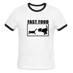 Wht/Bl Fast Food Ringer T - Men's Ringer T-Shirt
