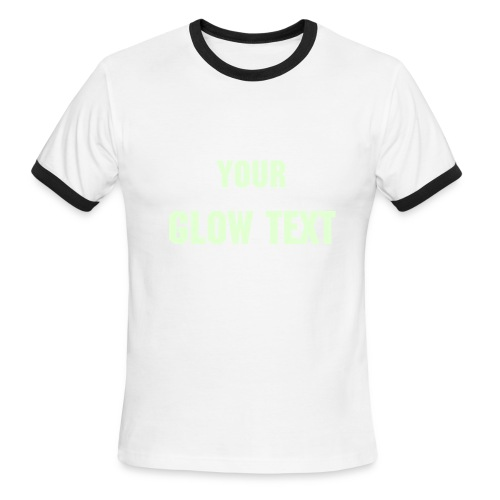 White/Black Ringer with your Glow in the Dark Text - Men's Ringer T-Shirt