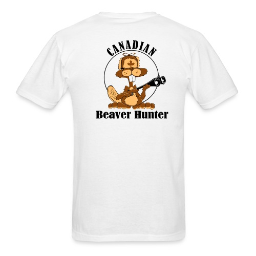 Canadian Beaver Hunter on Back - Men's T-Shirt