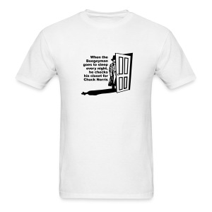 Men's T-Shirt - Boogey man and chuck norris print on front of white t-shirt.