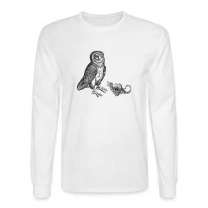 White, long-sleeved Owl Dong by the Erics & Hamling - Men's Long Sleeve T-Shirt
