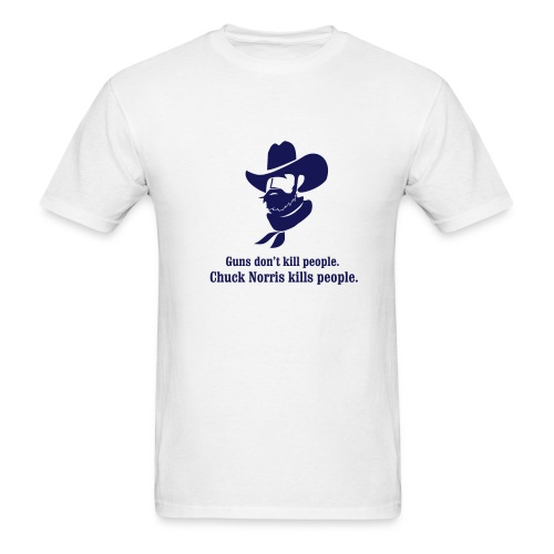 Chuck Norris Kills People (White/Navy) - Men's T-Shirt