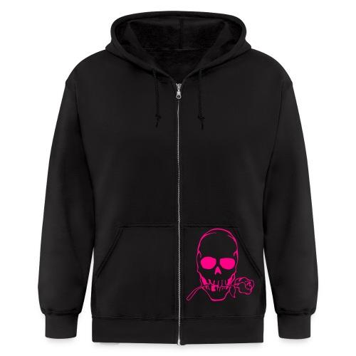 Men's Zip Hoodie - pink skull black hoodie