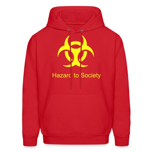 Caution Hazard to SOciety Red Hooded - Men's Hoodie