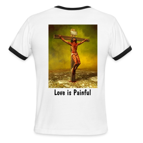 Love Painful w/Trim - Back - Men's Ringer T-Shirt