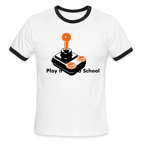 Retro Joystick Ringer Tee - White/Black - Men's Ringer T-Shirt