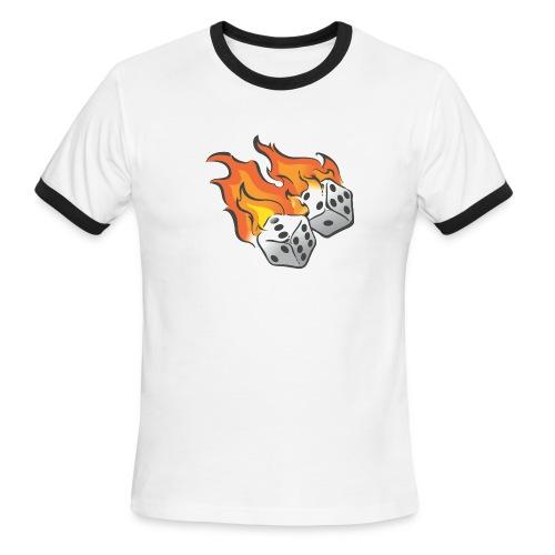 Flaming Dice Tee (M) - Men's Ringer T-Shirt
