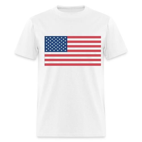 American Flag On White T-Shirt - Men's T-Shirt