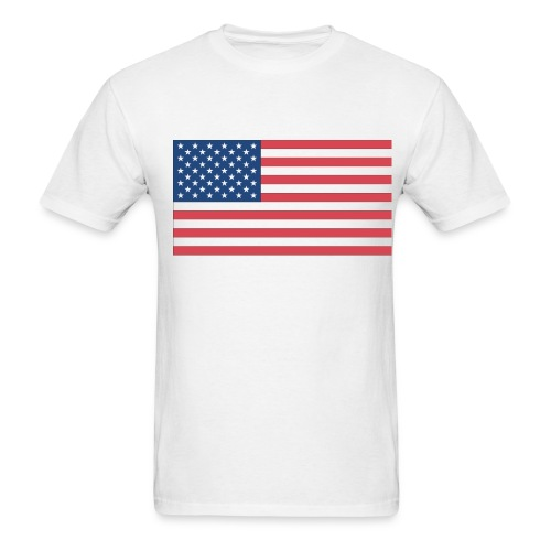 American Flag On White T-Shirt - Men's T-Shirt