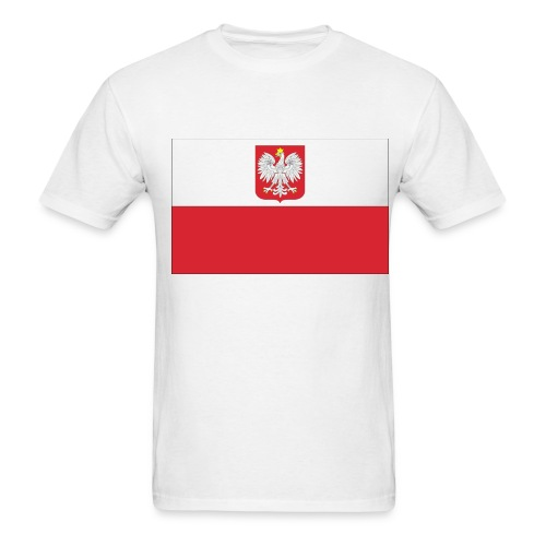 Poland Flag On White T-Shirt - Men's T-Shirt