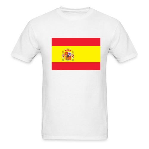 Spain Flag On White T-Shirt - Men's T-Shirt