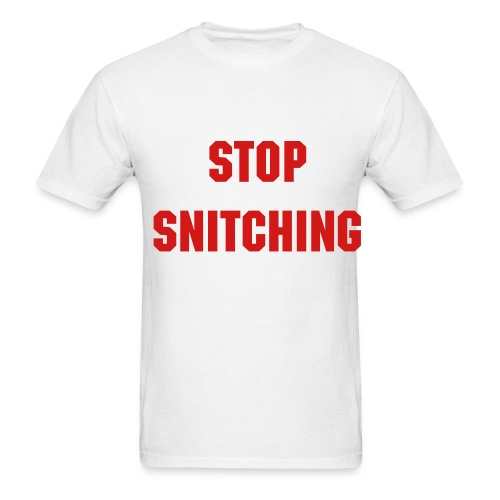 Stop Snitching - Red & White - Men's T-Shirt