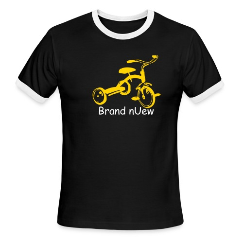 Mens: Brand nUew Tricycle Black White & Yellow - Men's Ringer T-Shirt