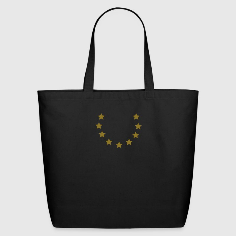 Black 9 stars in open circle (1c) Bags  - Eco-Friendly Cotton Tote