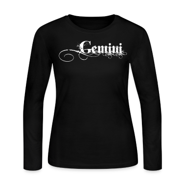 Black Gemini Sign White Long Sleeve Shirts