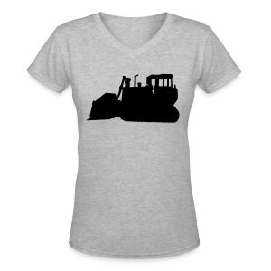 Bulldozer Black/White - Women's V-Neck T-Shirt