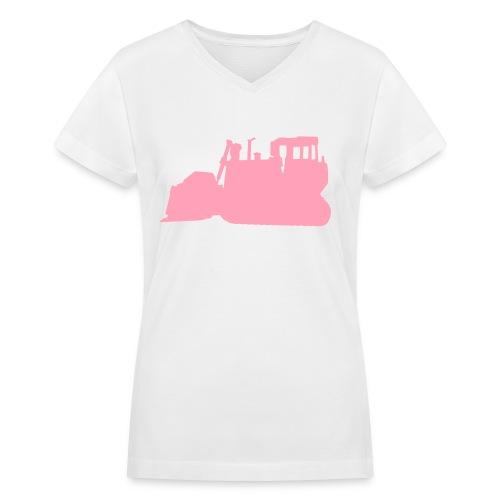 Bulldozer White/Pink - Women's V-Neck T-Shirt