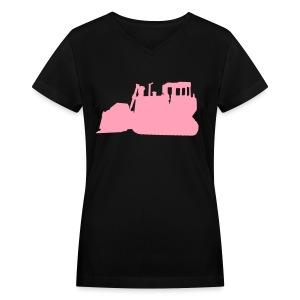 Bulldozer Black/Pink - Women's V-Neck T-Shirt
