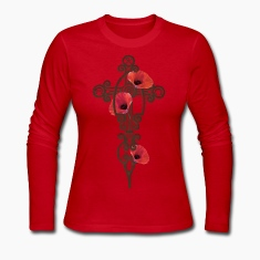 Red Iron Cross Rusty With Red Poppies Long Sleeve Shirts