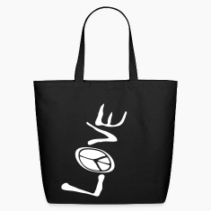 Black Big Love And Peace Upside Down, 1 Color Bags
