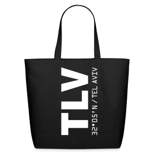 Tel Aviv airport code Israel TLV black tote or beach bag - Eco-Friendly Cotton Tote