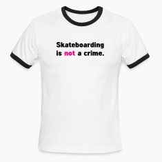 White/black skateboarding is not a crime T-Shirts