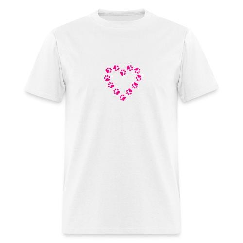 Neon Pink Paw Print Heart on White T-Shirt - Men's T-Shirt