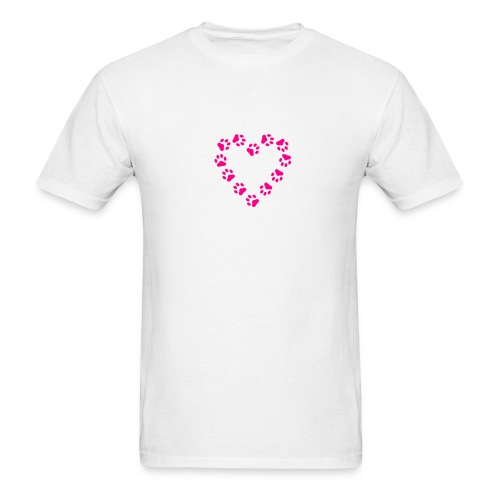 Neon Pink Paw Print Heart on White T-Shirt - Men's T-Shirt