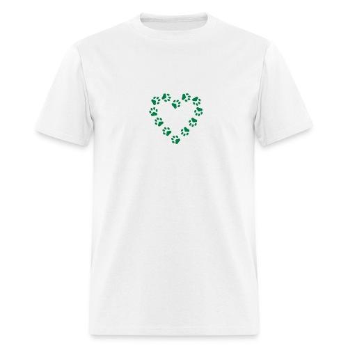 GreenPaw Print Heart on White T-Shirt - Men's T-Shirt