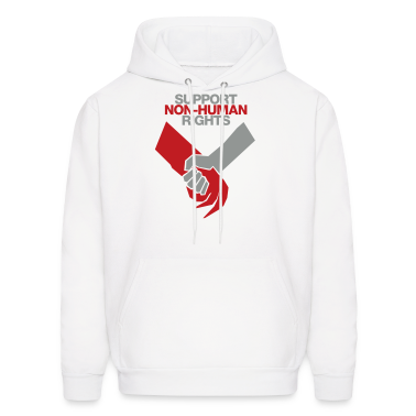 White Support Non-Human Rights Hoodies