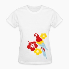 White Parrot Among Flowers Women's T-Shirts