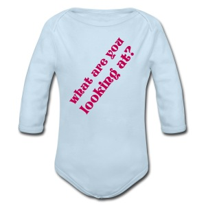 What are you looking at?  - Long Sleeve Baby Bodysuit