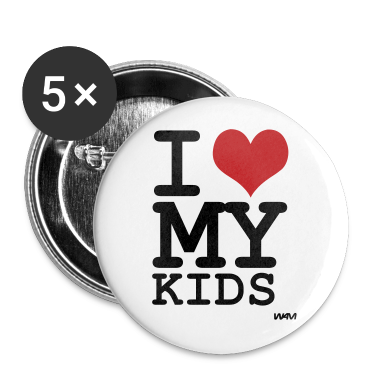White i love my kids by wam Buttons